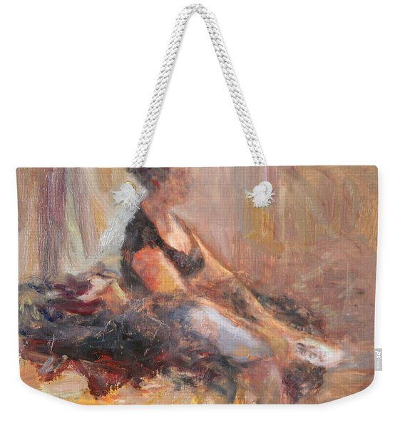 Waiting For Her Moment - Impressionist Oil Painting Weekender Tote Bag