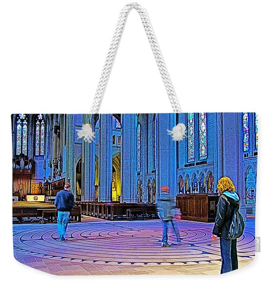 Walking The Indoor Labyrinth In Grace Cathedral In San Francisco-california Weekender Tote Bag