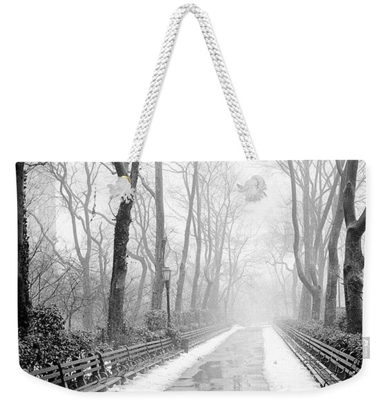 Walkway Snow And Fog Nyc Weekender Tote Bag