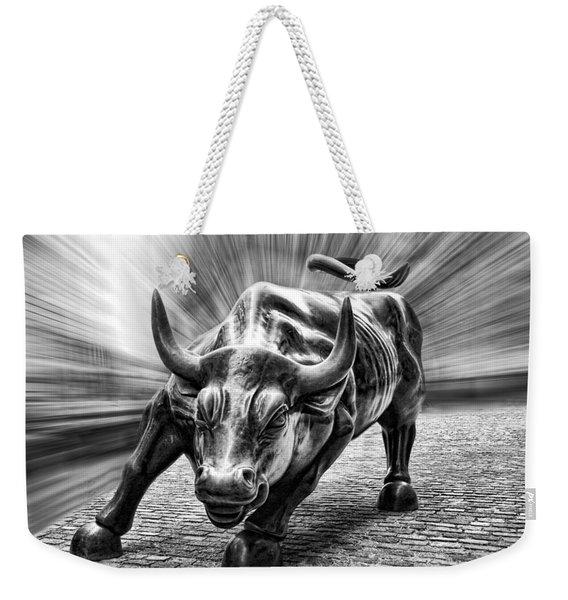 Wall Street Bull Black And White Weekender Tote Bag