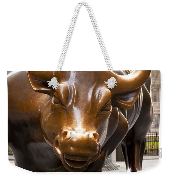 Weekender Tote Bag featuring the photograph Wall Street Bull by Brian Jannsen