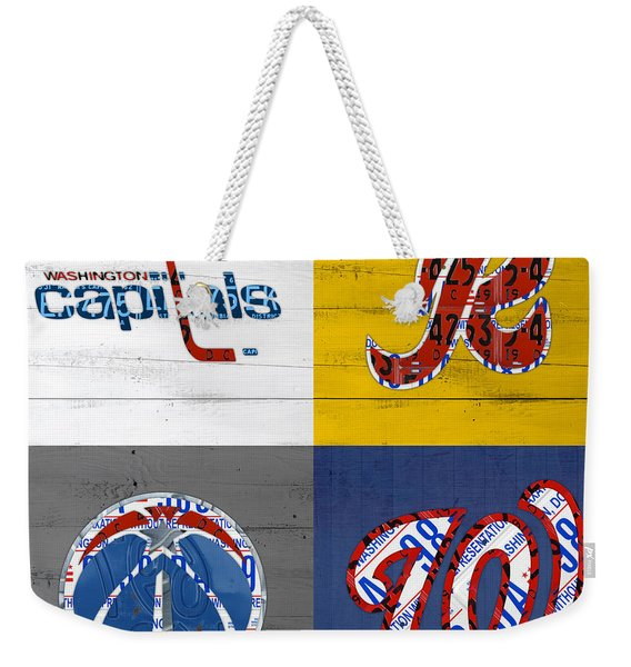 Washington Dc Sports Fan Recycled Vintage License Plate Art Capitals Redskins Wizards Nationals Weekender Tote Bag