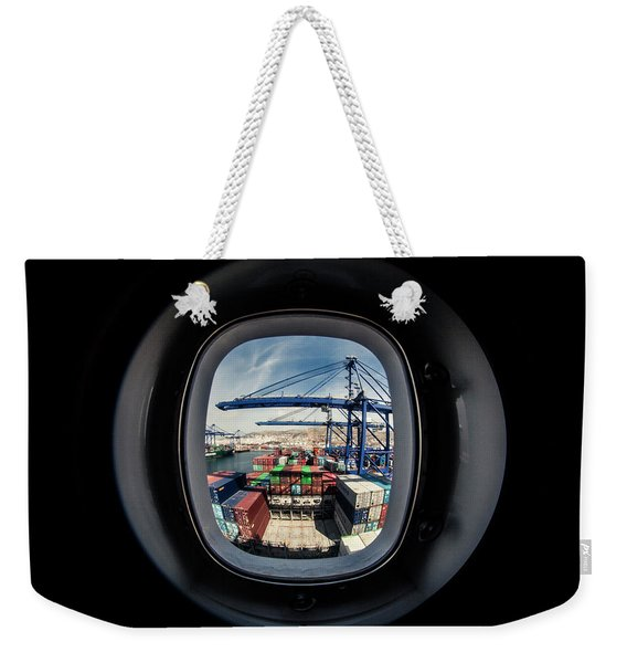 Watching A Container Ship Being Loaded Weekender Tote Bag