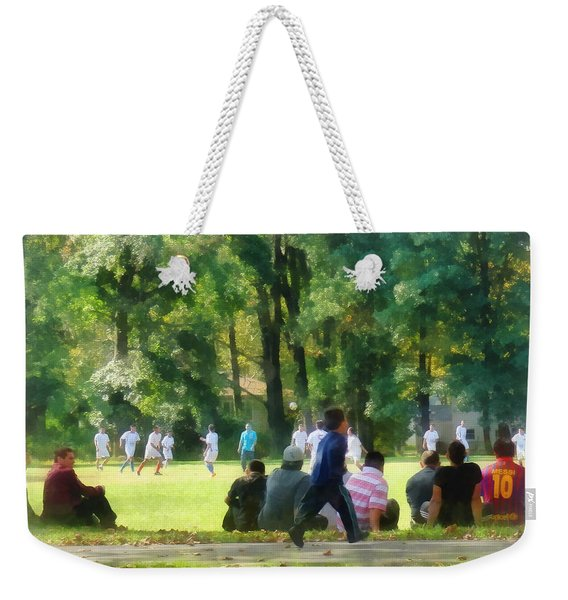 Watching The Soccer Game Weekender Tote Bag