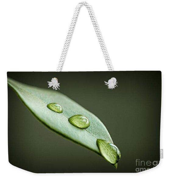 Water Drops On Green Leaf Weekender Tote Bag