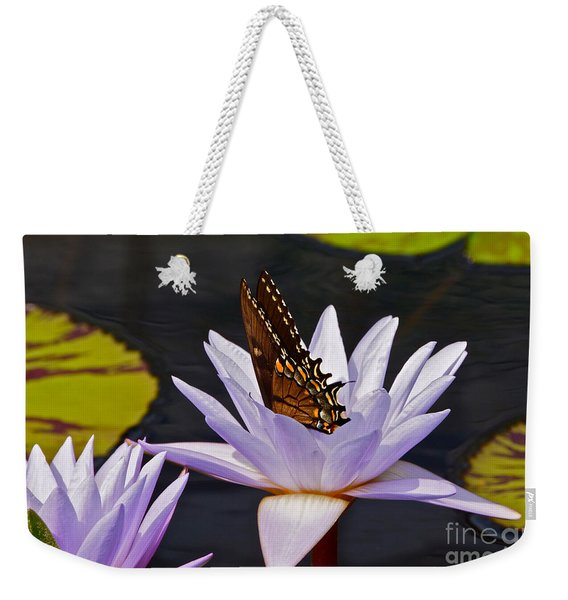 Water Lily And Swallowtail Butterfly Weekender Tote Bag