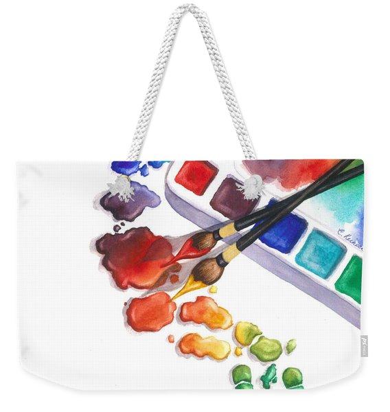 Watercolor Footprints Weekender Tote Bag