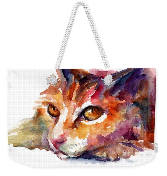 Watercolor Orange Tubby Cat Weekender Tote Bag