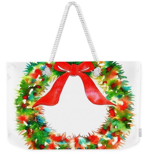 Watercolor Wreath Weekender Tote Bag