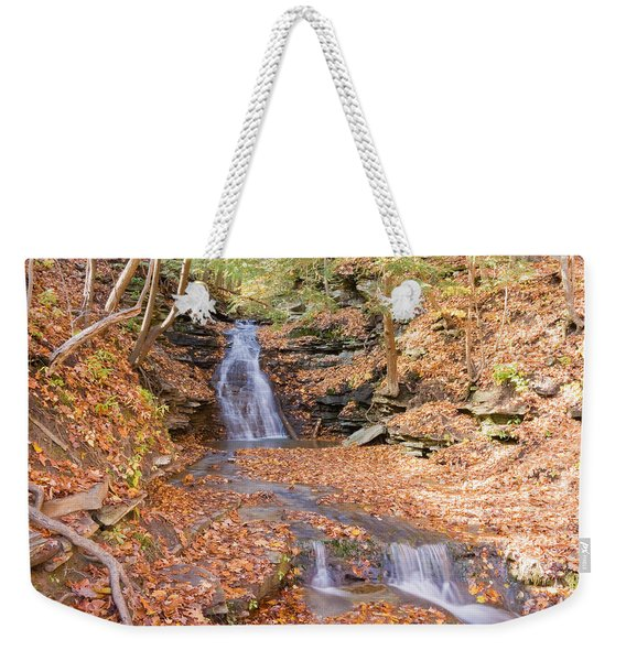 Waterfall In The Fall Weekender Tote Bag