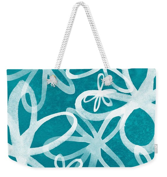 Waterflowers- Teal And White Weekender Tote Bag