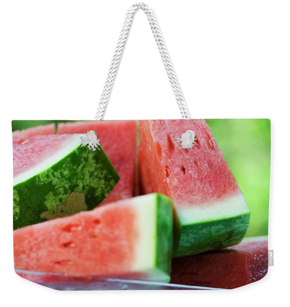 Watermelon Wedges In A Bowl Of Ice Cubes Weekender Tote Bag