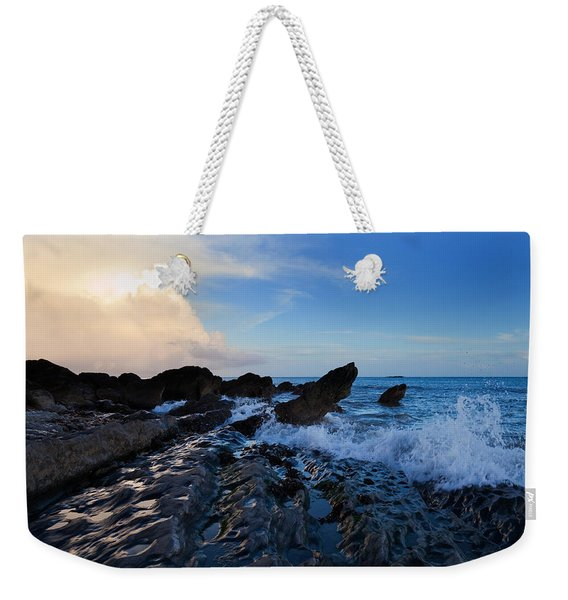 Waves And Rocks , Dungarvan Bay, County Weekender Tote Bag