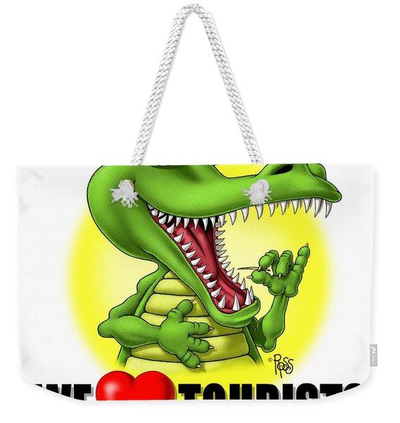 We Love Tourists Gator Weekender Tote Bag