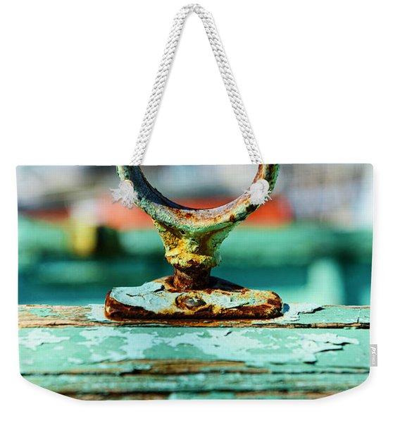 Weathered Boat Oar Lock Weekender Tote Bag