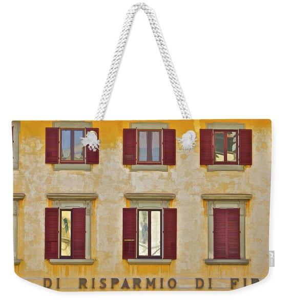 Weathered Windows Of Cortona Weekender Tote Bag