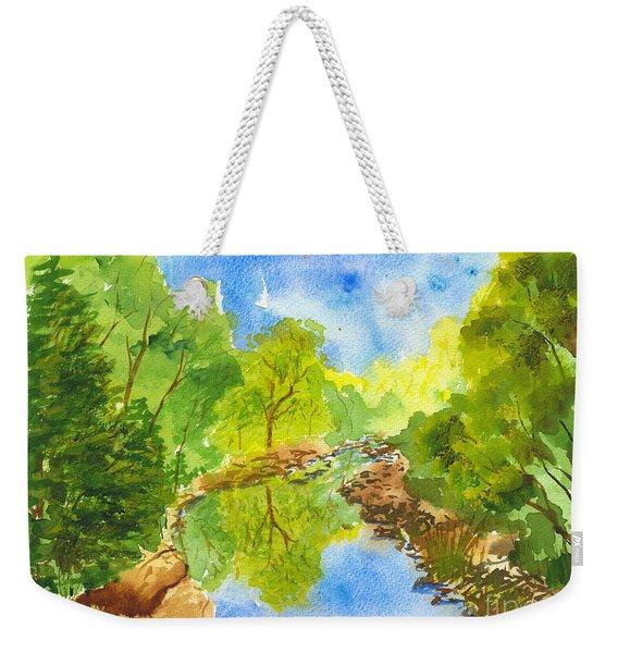 Weber River Reflection Weekender Tote Bag