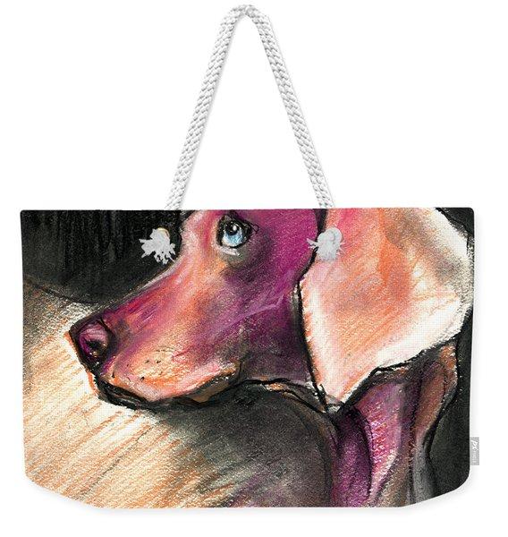 Weimaraner Dog Painting Weekender Tote Bag