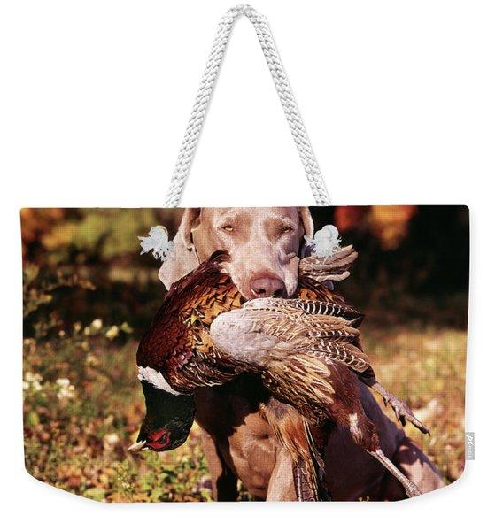 Weimaraner Hunting Dog Retrieving Ring Weekender Tote Bag