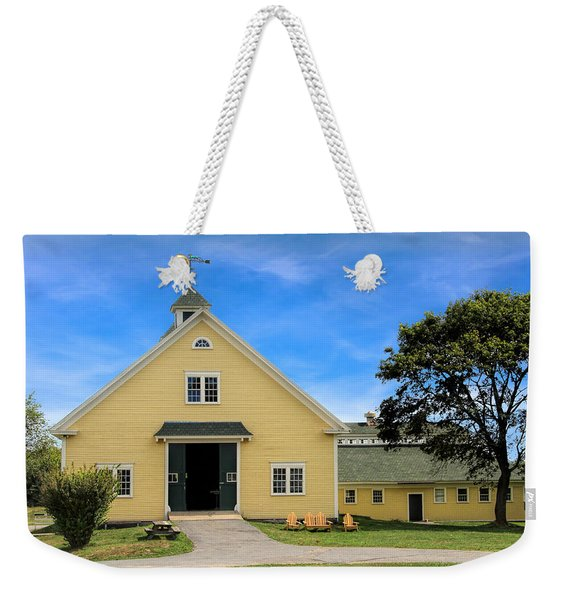 Weekender Tote Bag featuring the photograph Wells Reserve Barn by Jemmy Archer