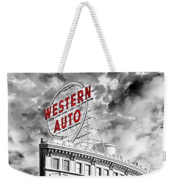 Western Auto Sign Downtown Kansas City B W Weekender Tote Bag