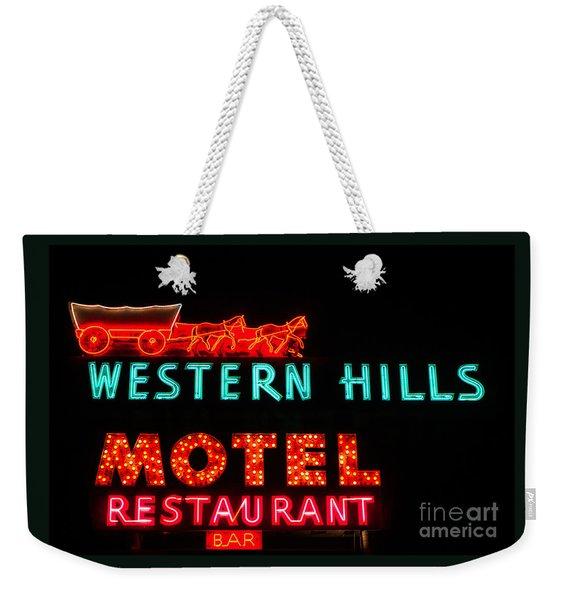 Western Hills Motel Sign Weekender Tote Bag