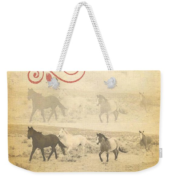 Western Themed Christmas Card Wyoming Spirit Weekender Tote Bag