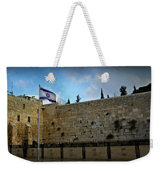 Western Wall And Israeli Flag Weekender Tote Bag