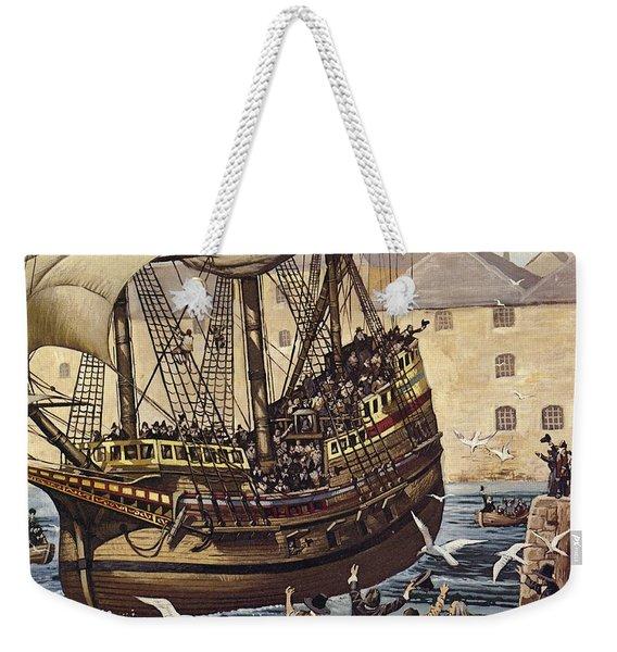 Westward Ho  The Mayflower Leaves Plymouth Weekender Tote Bag