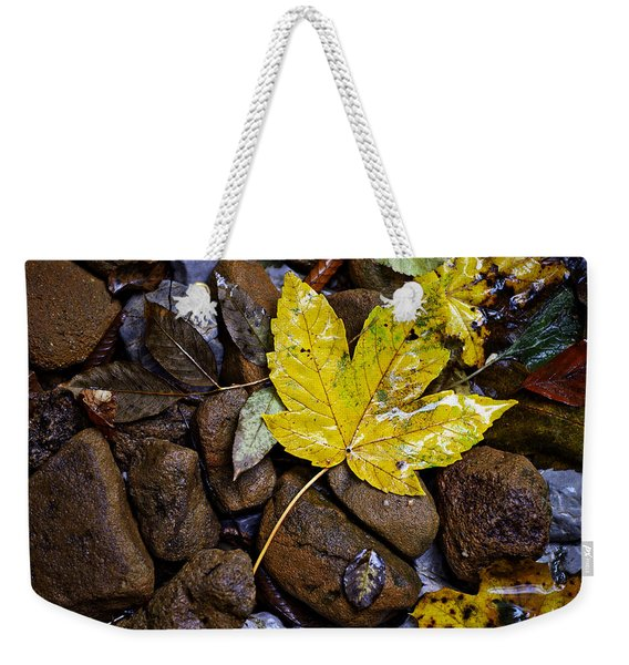 Wet Autumn Leaf On Stones Weekender Tote Bag