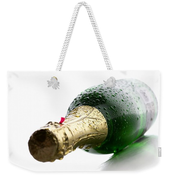 Wet Champagne Bottle Weekender Tote Bag