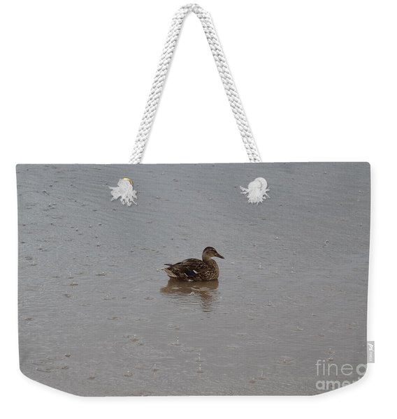 Weekender Tote Bag featuring the photograph Wet Duck by Scott Lyons