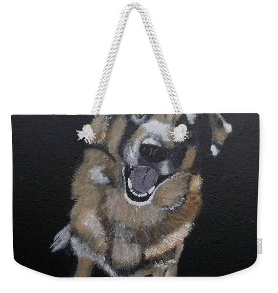 Weekender Tote Bag featuring the painting What's Up by Richard Le Page