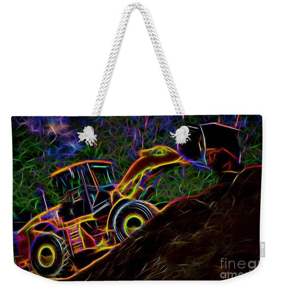 Wheel Loader Moving Dirt - Neon Weekender Tote Bag