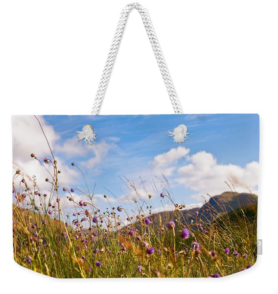 When The Sun Is Shining Everything Around Smiling Towards. Scotland Weekender Tote Bag