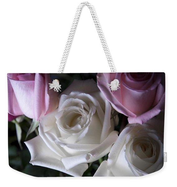 White And Pink Roses Weekender Tote Bag