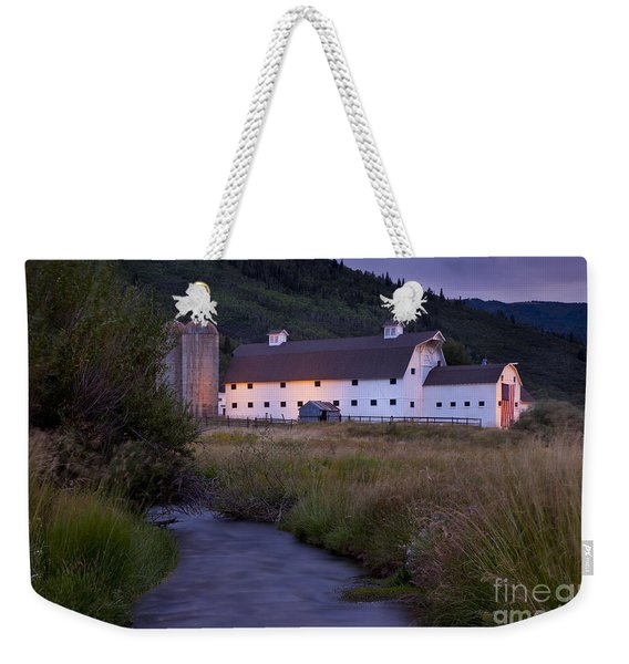 Weekender Tote Bag featuring the photograph White Barn by Brian Jannsen