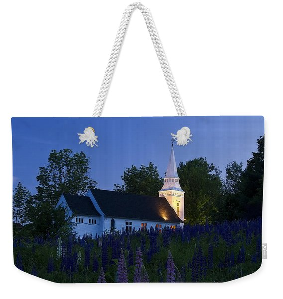 White Church At Dusk In A Field Of Lupines Weekender Tote Bag