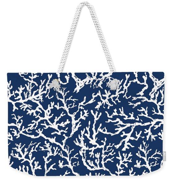 White Coral On Blue Pattern Weekender Tote Bag