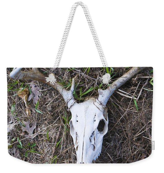 White Deer Skull In Grass Weekender Tote Bag