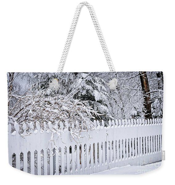 White Fence With Winter Trees Weekender Tote Bag