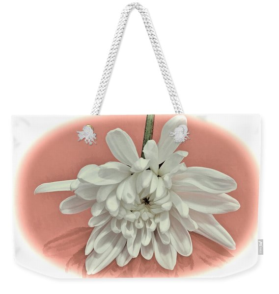 White Flower On Pale Coral Vignette Weekender Tote Bag