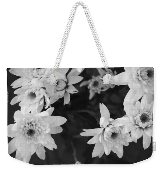 White Flowers- Black And White Photography Weekender Tote Bag