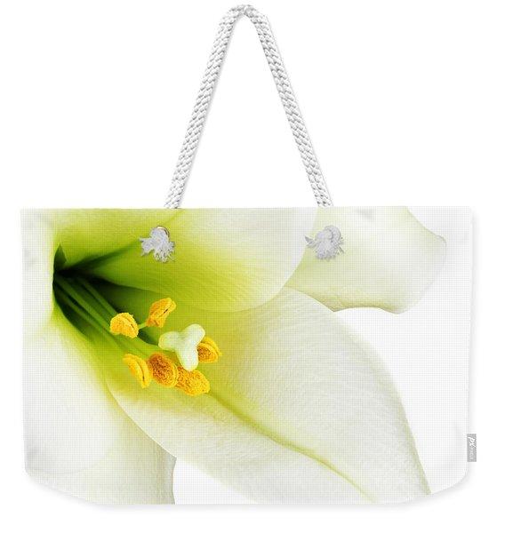 White Lilly Macro Weekender Tote Bag