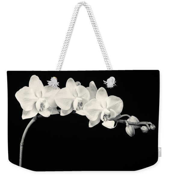 White Orchids Monochrome Weekender Tote Bag