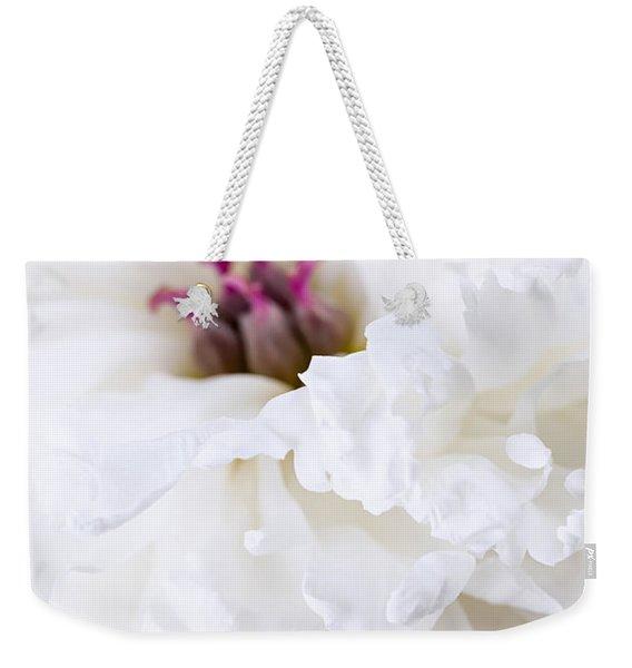 White Peony Flower Close Up Weekender Tote Bag