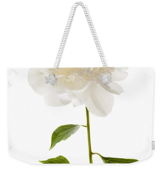 White Peony Flower On White Weekender Tote Bag