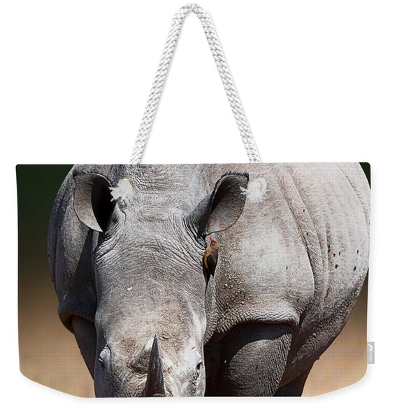 White Rhinoceros  Front View Weekender Tote Bag
