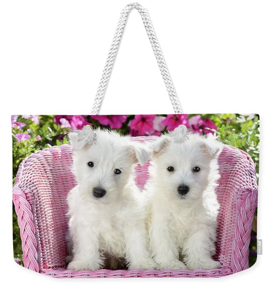 White Sitting Dogs Weekender Tote Bag