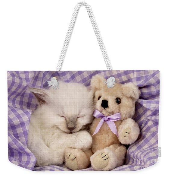 White Sleeping Cat Weekender Tote Bag
